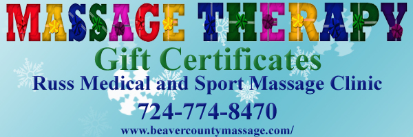 Massage Therapy Christmas Gift Certificates. Russ Medical and Sport Massage Clinic. 724-774-8470, www.beavercountymassage.com/