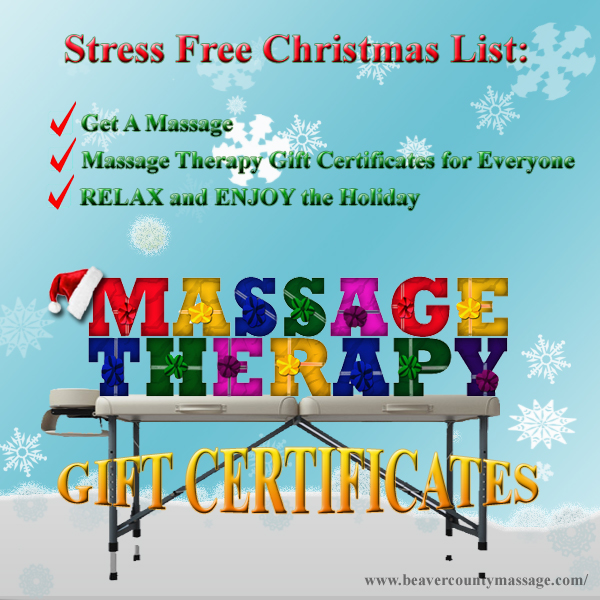 Massage Therapy Christmas Gift Certificates. Beaver, PA 15009